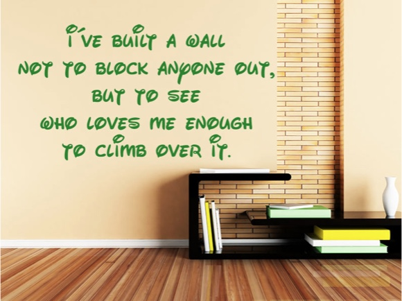 I've built a wall not to block anyone out, ...